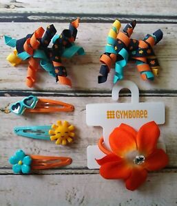 Gymboree Tropical Bloom sun sunglasses flower hair clips floral curlies & pony