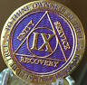 9 Year AA Medallion Purple Gold Plated Alcoholics Anonymous Sobriety Chip Coin