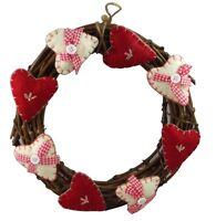 Gisela Graham Christmas - Country Hearts Wreath - Sumptuous fabric hearts