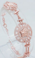 "14K Rose Gold Over Silver/925 2.00ctw Round CZ Round Medusa Head Bracelet-7.25"""