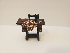 """Esther Ohara 2009 Resin Figurine Sewing Quilting Table Collectible - 3"""""""