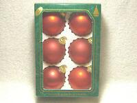 """CHRISTMAS BY KREBS RED VELVET 2 1/2"""" GLASS BALL ORNAMENTS 6 PACK IN BOX - NICE"""