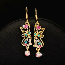 Betsey Johnson Gold & Multi Color Crystal Kiss Me Cat Earrings Pink Green