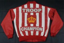 Rare WORLD OF TROOP Champion Crown Leather Bomber Jacket 90s Red LL Cool J SZ M
