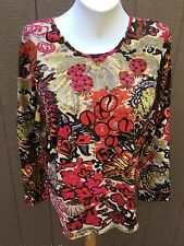 New Chico's Chelsea Flower Black Red Pink Tan LS Top Shirt Size 3 = XL 16 18 NWT