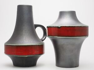2 WGP Space Age Design Ufo Vase Carstens 1253-17 + 1525-19 Heinz Siery FAT LAVA
