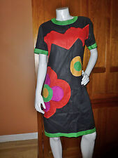 PAUL ALEXANDER Vtg 80s Bold Applique 100% LINEN Sheath Cocktail Party DRESS 10