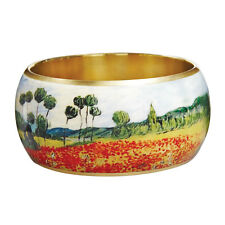 "Bangle Bracelet Van Gogh Poppy Field - 1 1/2"" Wide Lacquered Brass Wearable Art"