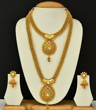 South Indian Gold Plated Bridal Ethnic Necklace Kundan Bollywood Jewelry Set
