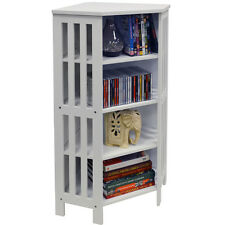 White Corner CD Unit Bathroom Cabinet Books Bedroom Kitchen Storage Wood Media