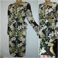 NEW PER UNA M&S SHIRT DRESS BLACK GREEN LIME FLORAL TROPICAL MIDI SIZE 12 - 22