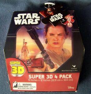 Cardinal – Star Wars – Super 3D 4 Pack Puzzles – Featuring Rey - NIB