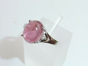 Ladies Sterling 925 Solid Silver 2 Carat Pink Tourmaline & White Sapphire Ring