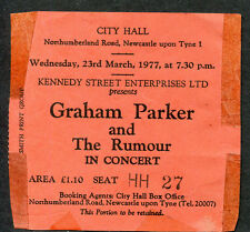 1977 Graham Parker and the Rumour concert ticket stub The Pink Parker Newcastle