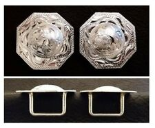 """2 - 1 1/2"""" Silver Hand Engraved Octagon Conchos with 3/4"""" Loop Back"""