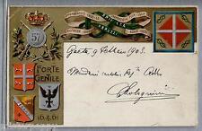 57° Reggimento fanteria Brigata Abruzzi WWI PC Viaggiata 1903 Art Nouveau