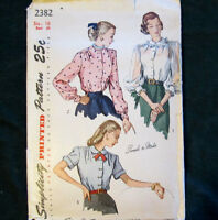 Vintage Blouse Sewing Pattern Button Gathers Peter Pan Size 16 Simplicity 2382