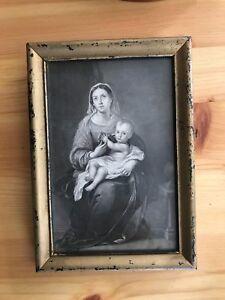 2 Antique Religious Engravings Madonna Homunculus Christ & Pastor w Communion