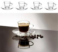 4 Clear Small Glass Espresso Coffee Cups & Saucers 80ml Set of 4 Boxed