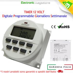 TIMER DIGITALE PROGRAMMABILE 12V 12 VOLT PER CACCIA, NAUTICA E SOLARE LED