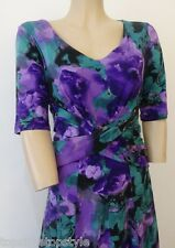 NEW MARKS AND SPENCER M&S PER UNA  WATER PAINT FLORAL PRINT PURPLE  DRESS £49.50