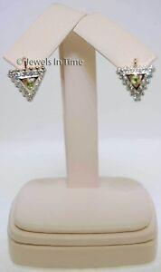Ladies 14K Rose & White Gold Diamond & Golden Beryl Earrings w/ Lever Backs