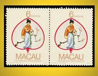 1987 MACAO DECORATED TRADITIONAL FANS HORIZONTAL PAIR 6 P. SCT. 550 MI 578
