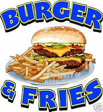 "Burger & Fries Decal 14"" Hamburger Food Truck Restaurant Concession Sticker"