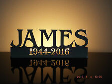 Memorial Personalised led tea light holder with name and dates