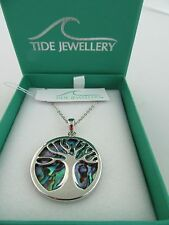 STUNNING PAUA SHELL 'TIDE' JEWELLERY 'TREE OF LIFE' PENDANT NECKLACE GIFT BOXED