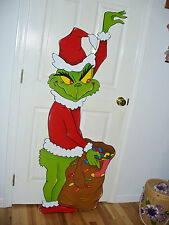 HAND MADE GRINCH STEALING CHRISTMAS LIGHTS YARD ART DECORATION. 62'' x 23''