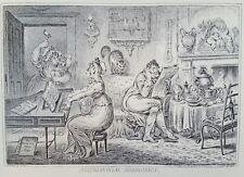 1940s James Gillray 1805 Caricature MATRIMONIAL HARMONICS etching PRINT Rare vtg
