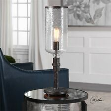 """LARGE 26"""" INDUSTRIAL HAMMERED METAL & HURRICANE GLASS TABLE LAMP READING LIGHT"""