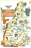 Vintage Postcard Greetings from New Hampshire Map, pb1