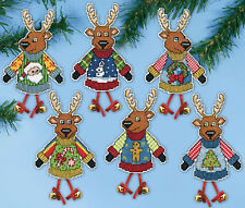Cross Stitch Kit Design Works Ugly Sweater Reindeer Christmas Ornaments #DW5994