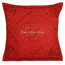 Decorative Cotton Sofa Throw Pillows Covers Red Embroidery Mirror Cushion Cover