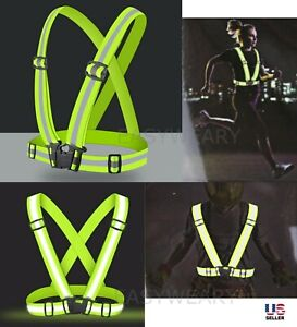 High Visibility Suspenders Reflective Harness Belt Strap Traffic Running Safety
