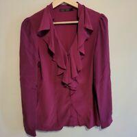 David Lawrence Women's V Neck Purple 100% Silk Blouse Shirt Top Size 6