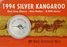 1 AU DÓLAR PLATA CANGURO EN BLISTER Kangaroo 1994 1 ONZA PLATA EN COINCARD