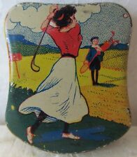 "VINTAGE SMALL COLORFUL TIN WITH A LADY GOLFER  1 3/4"" TALL  NICE CONDITION"