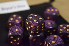 Speckled 16mm D6 RPG Chessex Dice (10 Dice) Hurricane Speckled Purple and Black