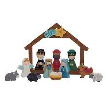 Peint à la main souvenir en Bois Nativité Set Décoration de Noël