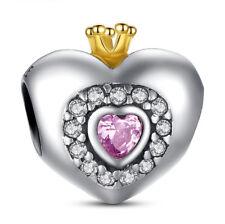 European 925 Silver CZ Charm Beads Pendant Fit sterling Bracelet Necklace A#853