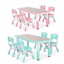 Children Table W/ 4 Chairs Set Craft Desktop Height Adjustable Kids Activity Set