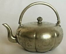 BEAUTIFUL QING PAKTONG  Finely ETCHED Silver ANTIQUE CHINESE Teapot 8 LOBED