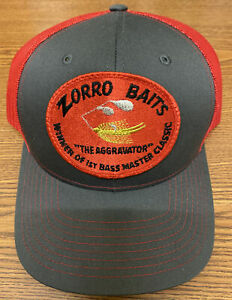 VINTAGE ZORRO BAITS THE AGGRAVATOR  PATCH SEWN ON A NEW 112 RICHARDSON HAT.