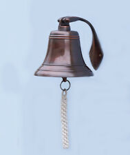 """Copper Finish Solid Aluminum Ship's Bell 6"""" x 9"""" Hanging Wall Decor New"""