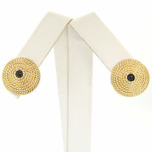 Vintage 14k Yellow Gold Cabochon Sapphire Twisted Wire Cone Shaped Stud Earrings
