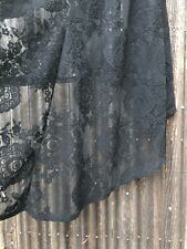 Reformation Black Sheer Spanish Lace Dress Assymetrical Empire Waist Gypsy S/M