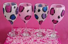 4 Vasos De Brillo Rosa Multi Leopardo Vino Boda Cumpleaños Regalo De Navidad Novia